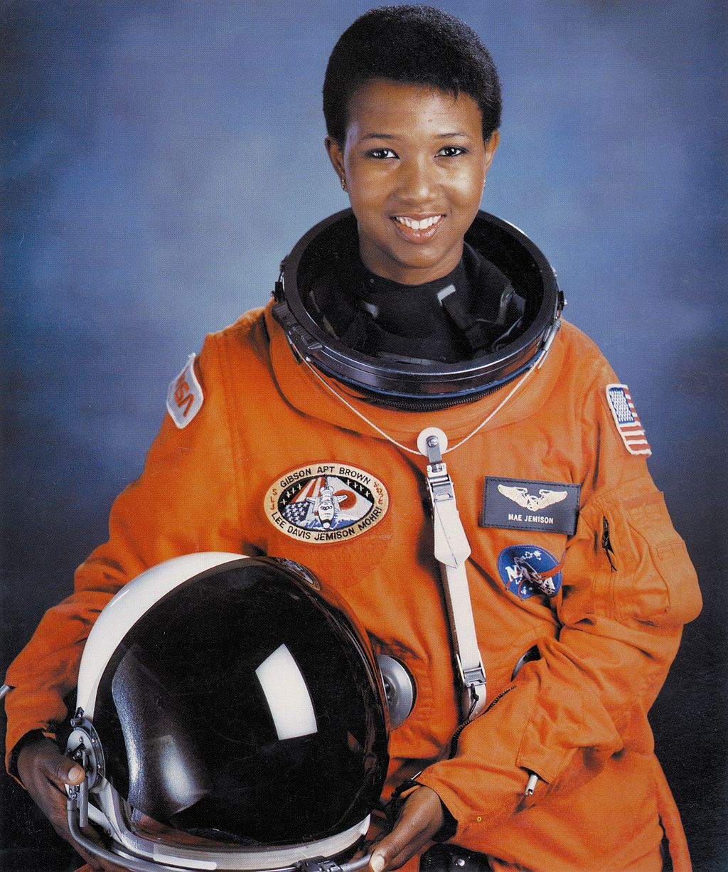 Photo portrait of Dr. Mae C Jemison, first African-American woman in space. Public domain image.