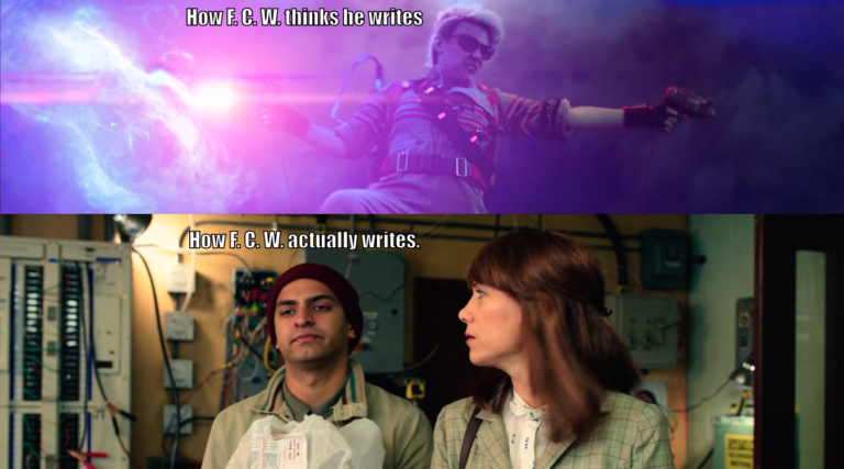 Holtzmann's CMA in the Battle of Times Square: How F. C. W. thinks he writes. Benny looking 201% checked out while Erin looks at him in a not-super-impressed way: How F. C. W. actually writes.