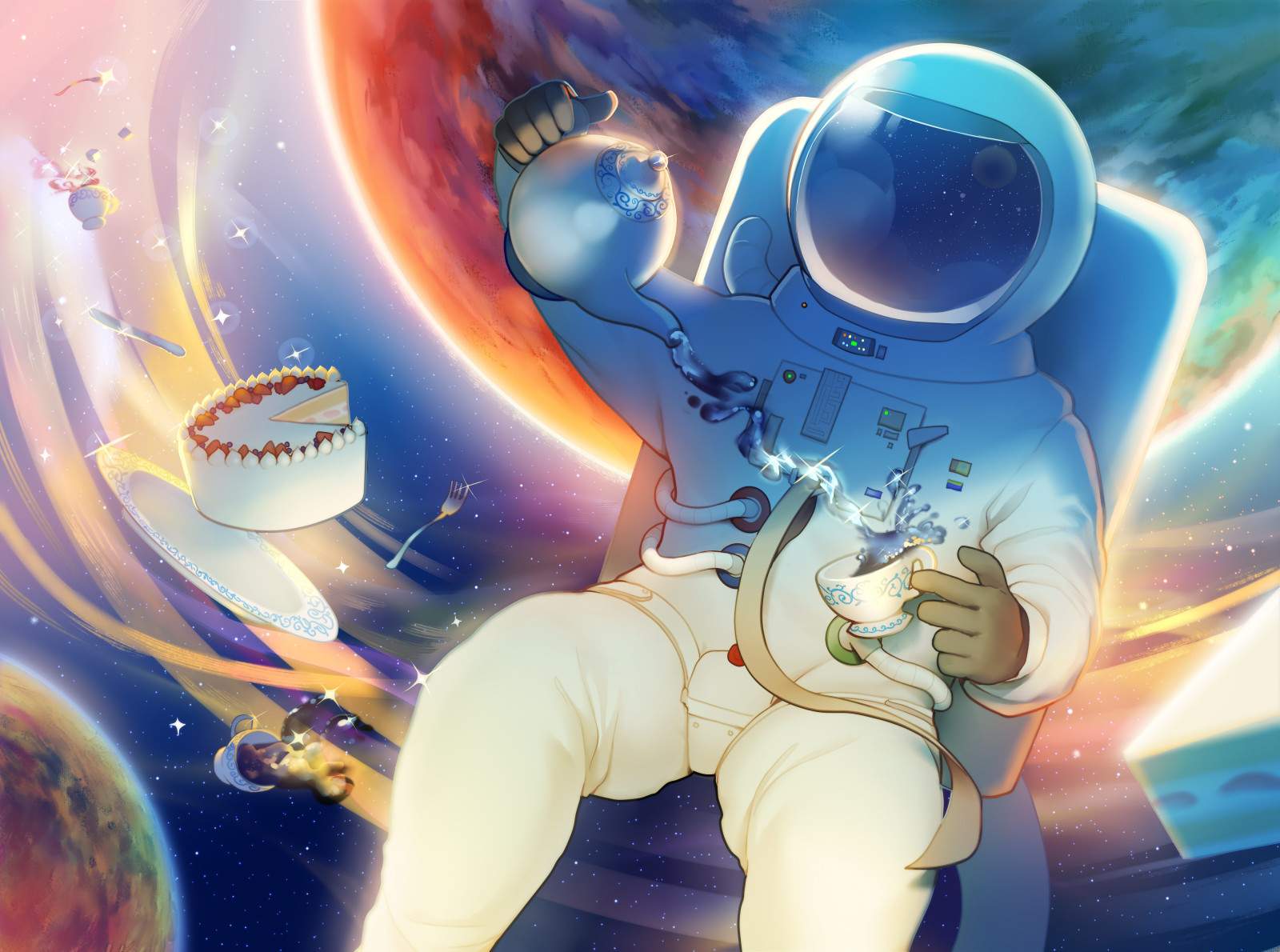 Digital painting of an astronaut pouring tea while floating between glowing planets