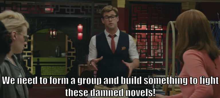 "Kevin says, ""What we need to do is form a group and build something to fight these damned novels!"""