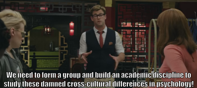 "Kevin informs the Ghostbusters that ""We need to form a group and build an academic discipline to study these damned cross-cultural differences in psychology!"""