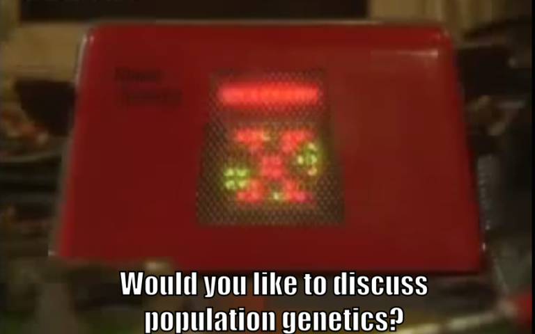 "Talkie Toaster asks, ""Would you like to discuss population genetics?"""
