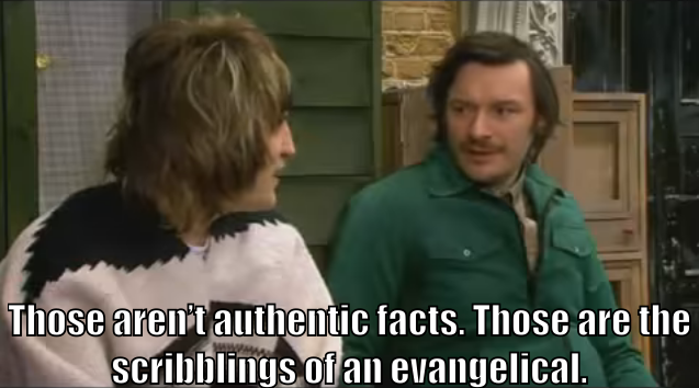 "Howard Moon says to Vince, ""Those aren't authentic facts. Those are the scribblings of an evangelical."""