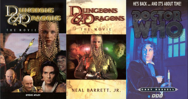 Cover images for the young adult and regular novelizations of the Dungeons and Dragons movie, plus the cover of the novelization of the 1996 Doctor Who movie