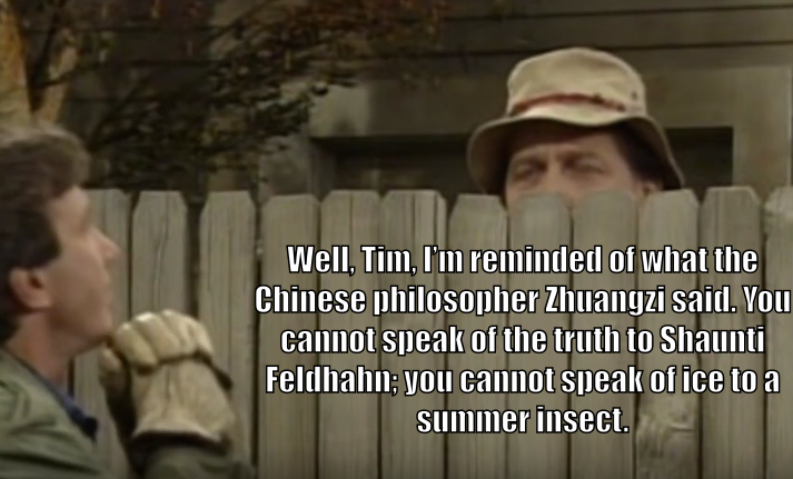"Wilson Wilson, behind the fence as usual, says to Tim Taylor, ""Well, Tim, I'm reminded of what the Chinese philosopher Zhuangzi said. You cannot speak of truth to Shaunti Feldhahn; you cannot speak of ice to a summer insect."""